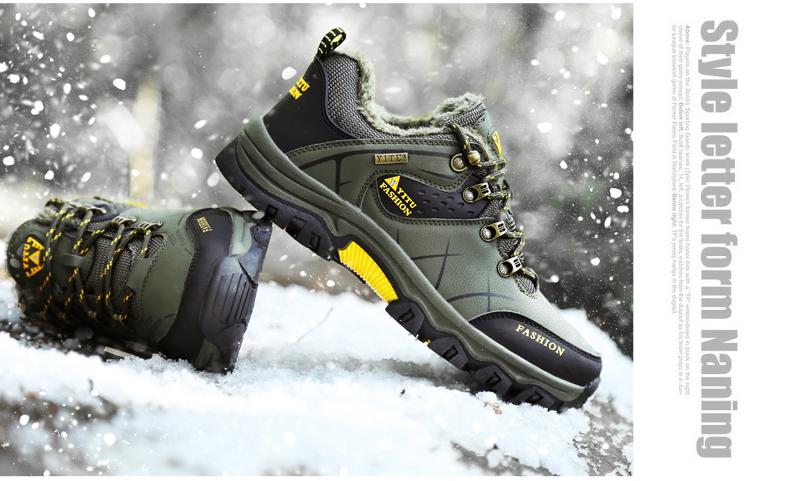 春季新款大尺码男鞋户外登山鞋男士皮面运动鞋防水防滑休閒鞋详细照片