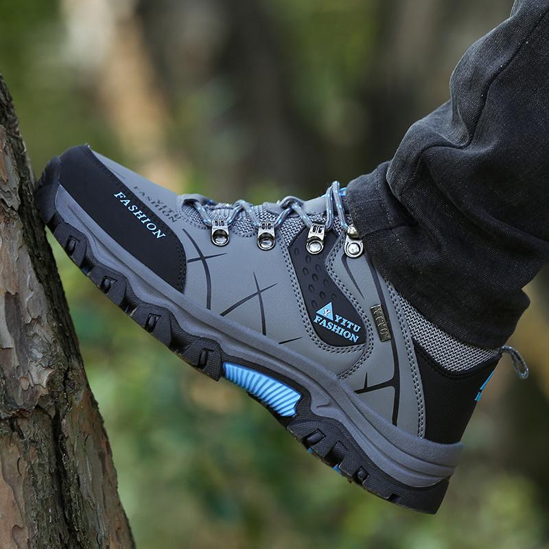 2021夏季新款大码男鞋45户外登山鞋男士网面运动鞋防水防滑休闲鞋