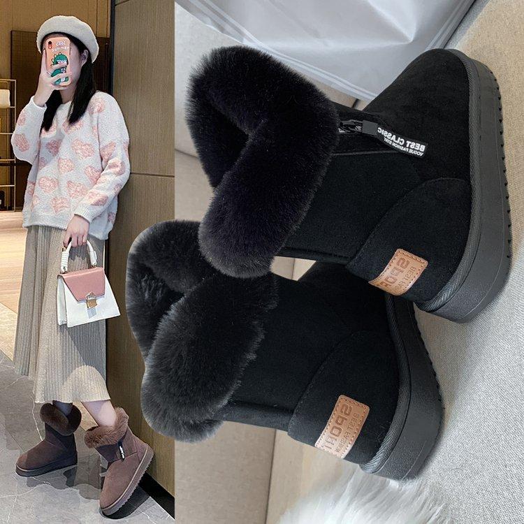 雪地靴女2020年新款秋冬季加绒保暖棉鞋女时尚防滑鞋子休闲一脚蹬
