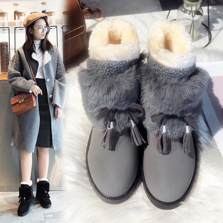 雪地靴女鞋冬鞋2019新款时尚皮毛一体棉鞋秋款加绒加厚短靴子冬季