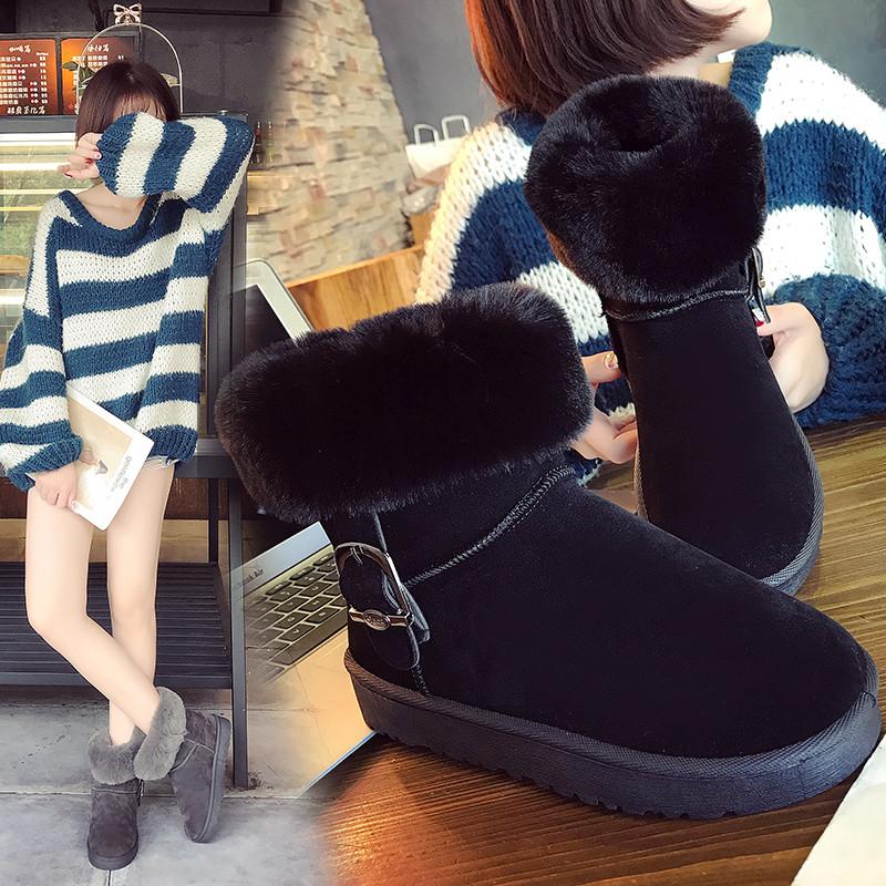 新款加絨雪地靴女短靴棉鞋百搭毛毛女靴