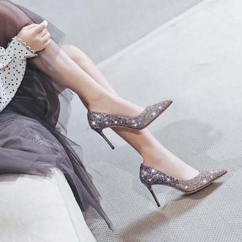 Поколение красивая женщина 2020 зимний осенний новинка выйти замуж обувь на высоких кабгалстук-бабочкаах женщина точно с невеста блестки свадьба обувь дикий, цена 2414 руб