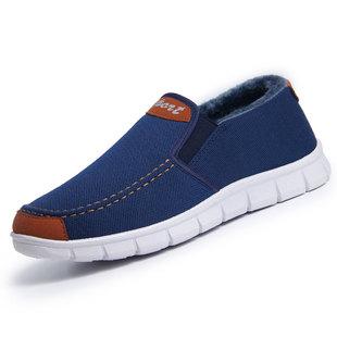 男鞋薄绒鞋无鞋带防滑保暖老北京布鞋老年老头男士一脚蹬加绒棉鞋