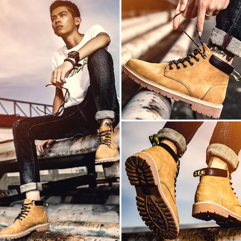 马丁靴男高帮冬季潮百搭中帮秋季男士大黄工装鞋子加绒雪地靴子