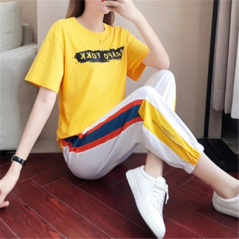 夏季新款时尚韩版宽松短袖显瘦长裤两件套