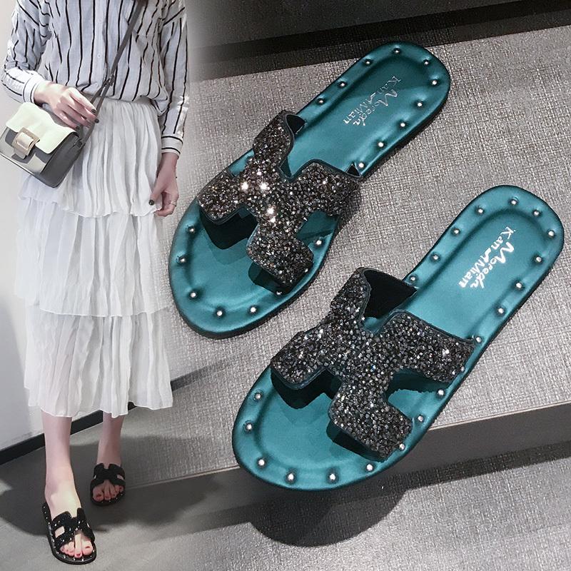2019夏季新款女鞋时尚水钻H拖鞋闪亮室外穿平底跟凉鞋沙滩凉拖鞋