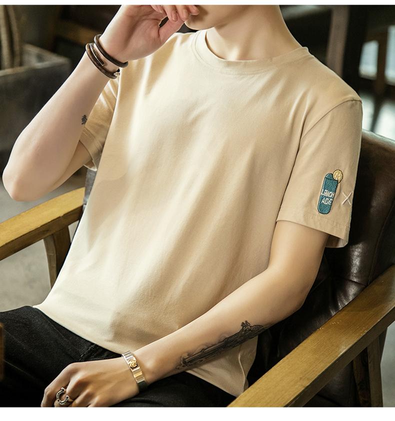 2018 mùa hè mới vòng cổ nam ngắn tay t- shirt Hàn Quốc t- shirt nửa tay áo xu hướng cá tính quần áo của nam giới