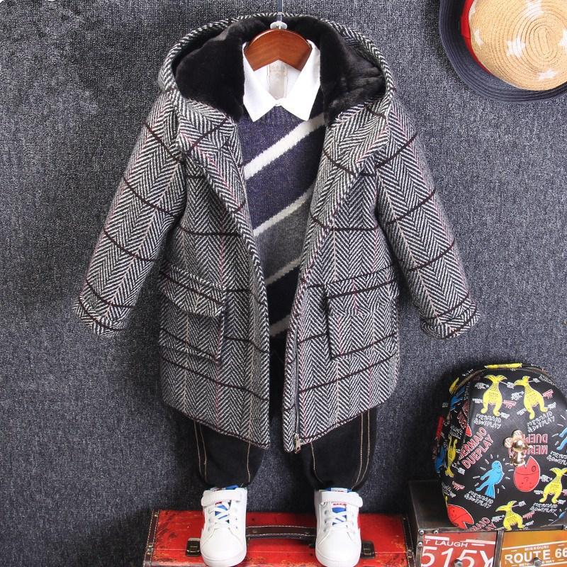儿童毛呢外套男童2019新款韩版3小童妮子9岁宝宝秋冬格子呢子大衣