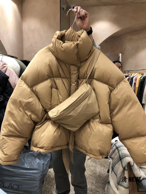 Mydress韩国东大门代购2019冬季新款女立领拉链纯色羽绒服面包服