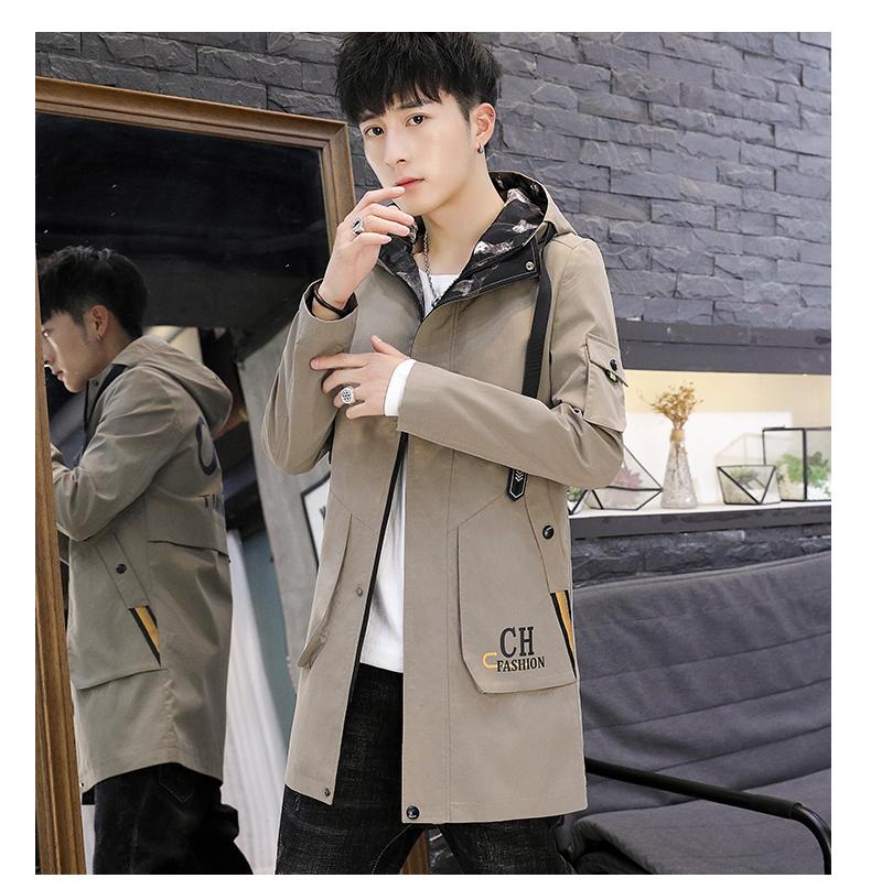 Men's windshield spring and autumn fashion wave brand handsome clothes 2020 new winter plush warm jacket medium long jacket 57 Online shopping Bangladesh