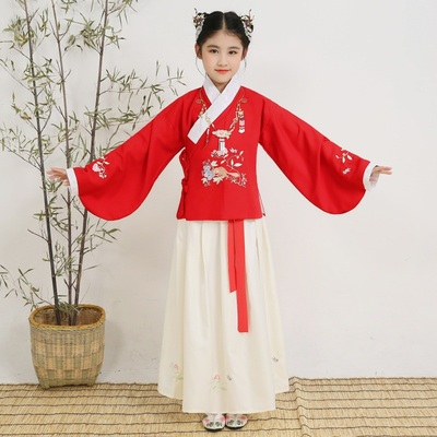 Children's Han jacket, skirt, girl's wear, jacket, skirt, skirt, costume, costume, costume, performance, and children's parents.
