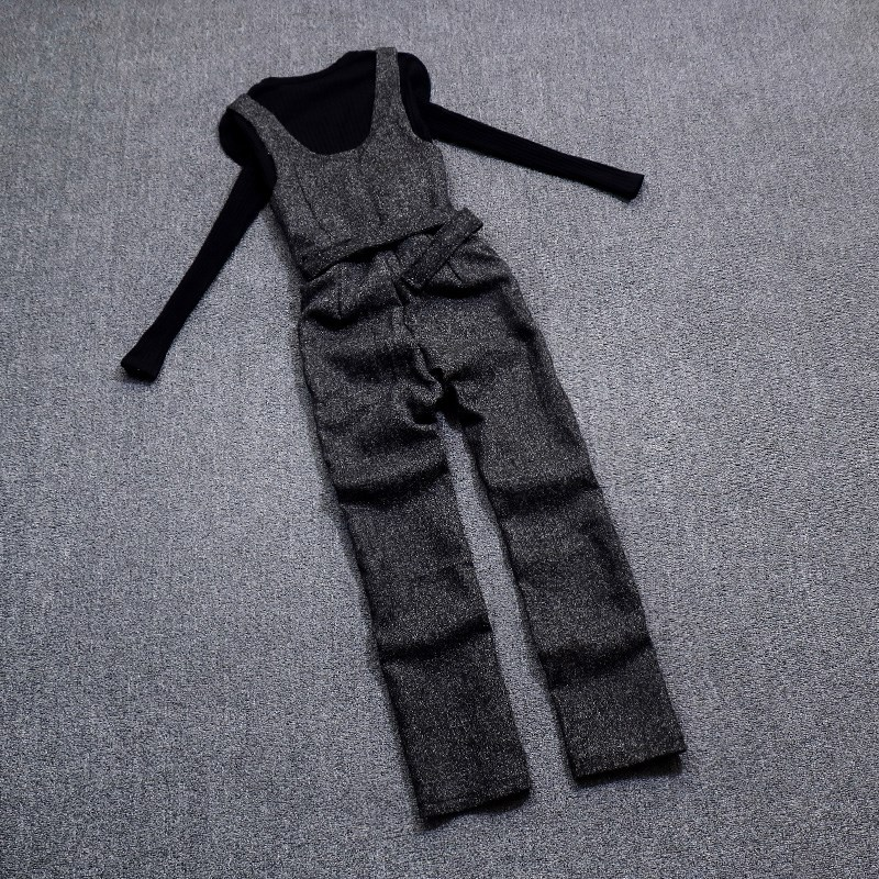 欧货春装2019新款时尚显瘦背带裤套装女毛呢连体裤洋气打底两件套