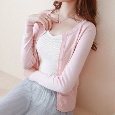 Spring and autumn wear a small knitted cardigan sweater female high waist short thin section dress out of the slim dressing dress