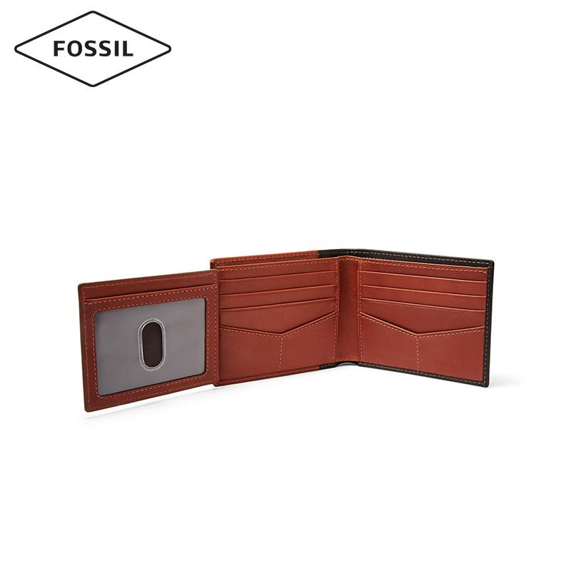 Fossil化石正品欧美复古皮夹钱包男个性撞色短款小巧男士钱包真皮
