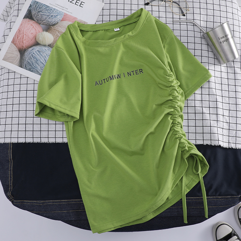 牛油果绿t恤女短袖2019新款夏季修身抽绳设计感小众心机短款上衣