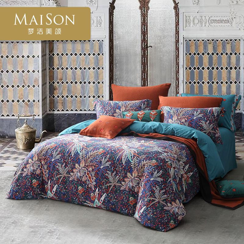 夢潔出品美頌天絲長絨棉磨毛印花四件套床上用品被套床單葉芝物語