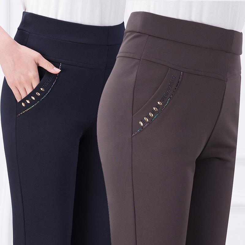 妈妈裤子女春夏长裤女装宽松弹力直筒休闲裤大码外穿款中老年女裤