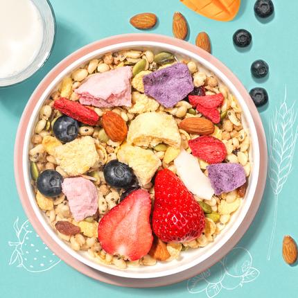 HONlife密子君同款好麦多奇亚籽酸奶水果燕麦片即食早餐420g*2袋