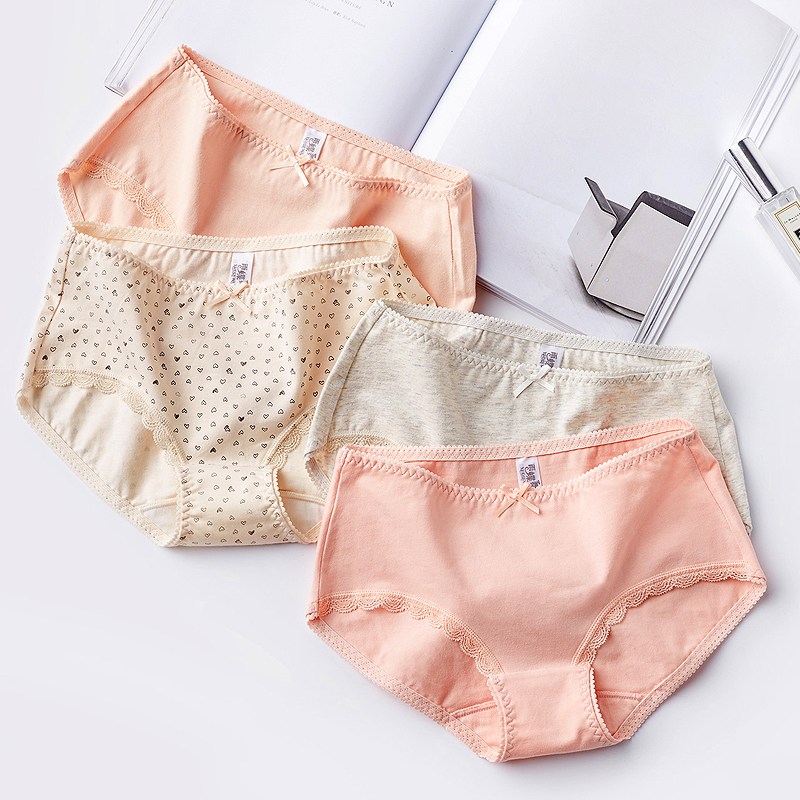 纯棉女士内裤性感蕾丝中腰三角裤4条装优惠价20元销量109件
