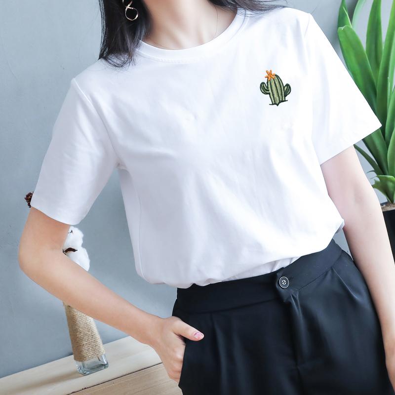 仙人掌纯棉夏装T恤女白色2019新款短袖宽松上衣韩版半袖刺绣女