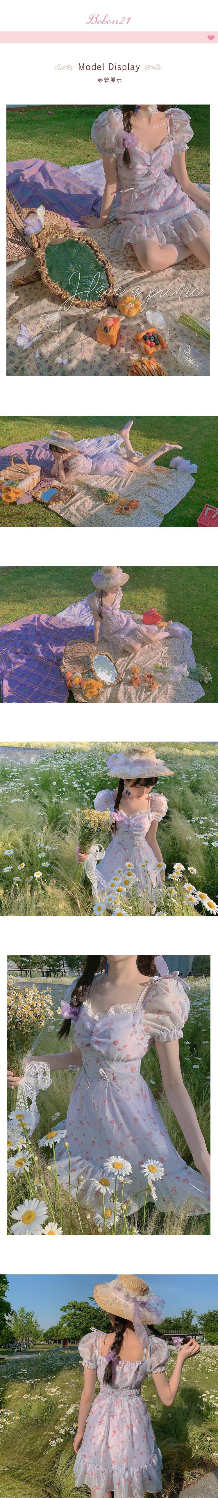 莉摩花样爱丽丝我超甜小碎花收腰雪纺洋装短上衣详细照片