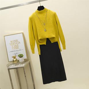 【针织衫两件套】毛衣+秋冬长裙子