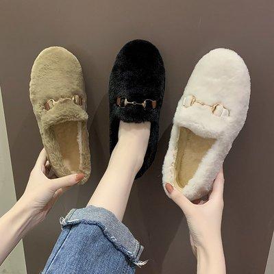 毛毛鞋女冬季外穿2020新款时尚加绒保暖棉鞋女秋冬季一脚蹬豆豆鞋