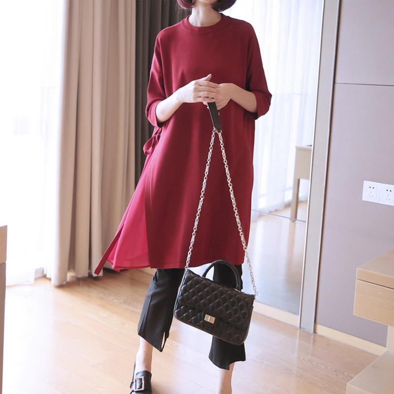 2019套头新款七分针织衫女宽松中长款春夏袖纯色大码打底毛衣罩衫