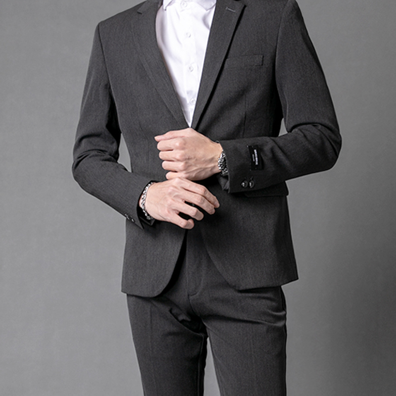 Gray No Embroidery (suit + Sweater + Trousers)