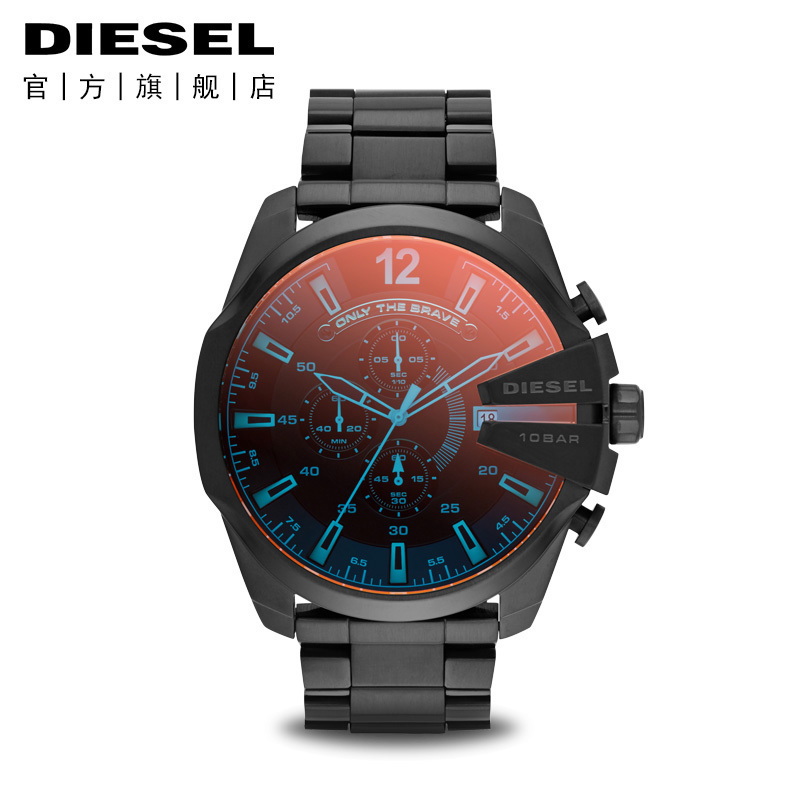 Diesel-迪賽手表男精鋼防水時尚潮流紅藍偏光鏡面男士腕表DZ4318