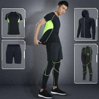 路伊梵健身跑步运动套装篮球速干衣健身房短袖晨跑训练服装男春夏