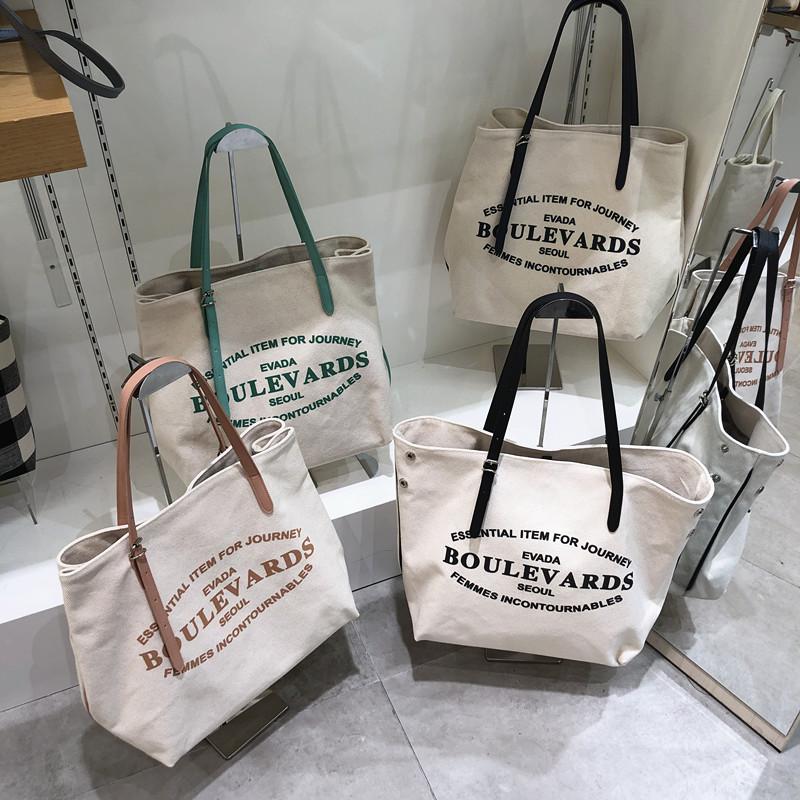 韩国代购字母EVADA女包单肩布包手提包包帆布v字母正品大容量包新