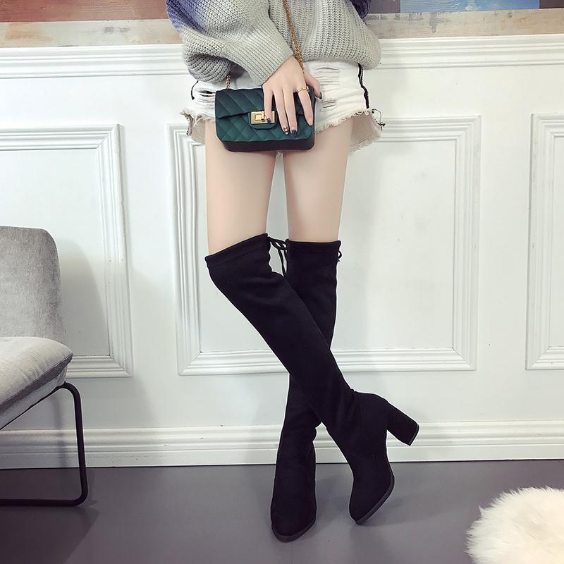 粗跟过膝长靴弹力显瘦百搭高跟靴子秋冬长筒靴2018性感新款女尖头