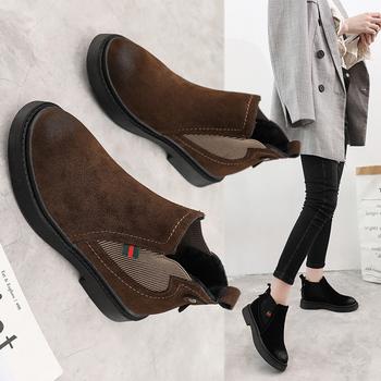 马丁靴女复古低跟平底切尔西短靴女