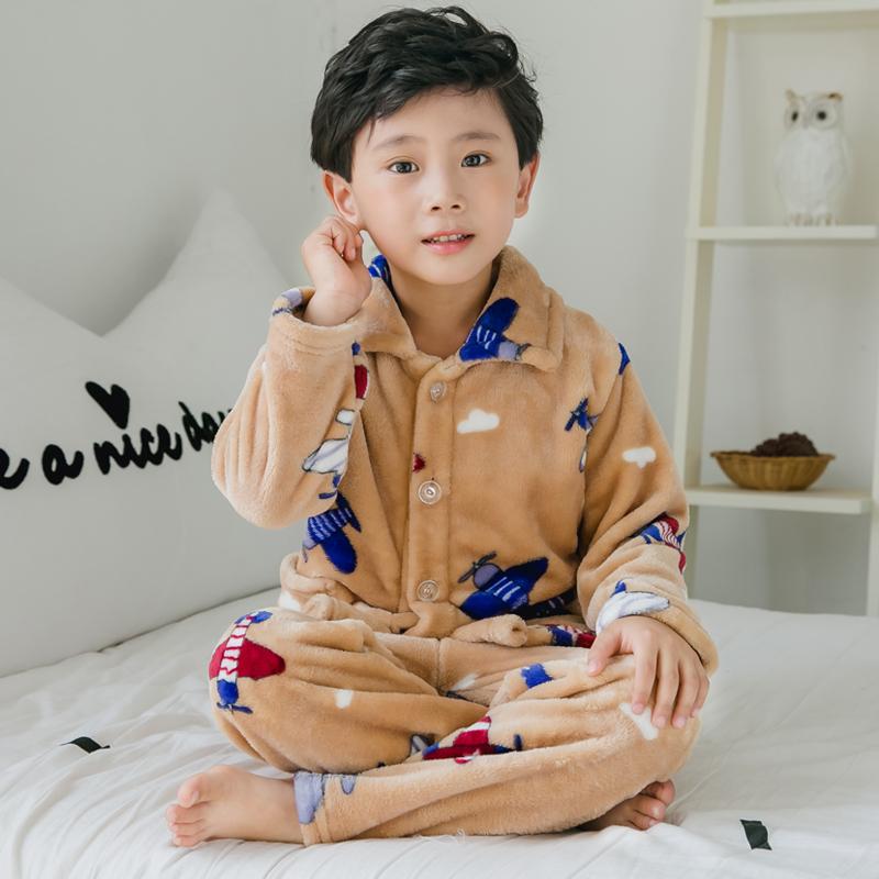 秋冬季儿童珊瑚绒睡衣宝宝男童女童家居服男孩小孩加厚法兰绒套装