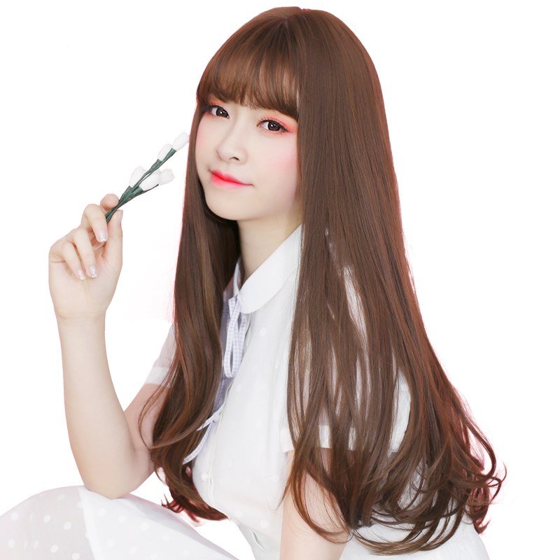Wig Female Long Straight Hair Long Curly Hair Big Wave Long Hair Korean Air  Bangs Wig ...