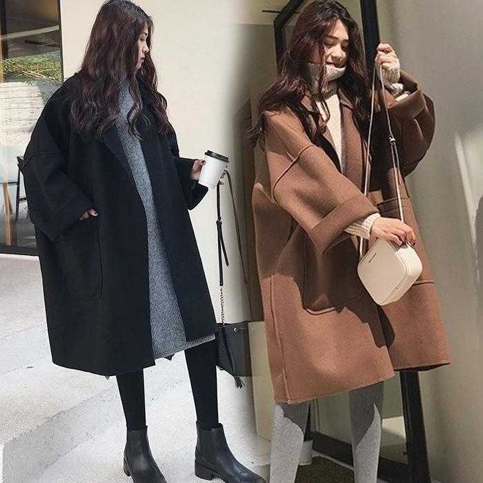 秋冬学生宽松显瘦毛呢外套呢子大衣中长款女