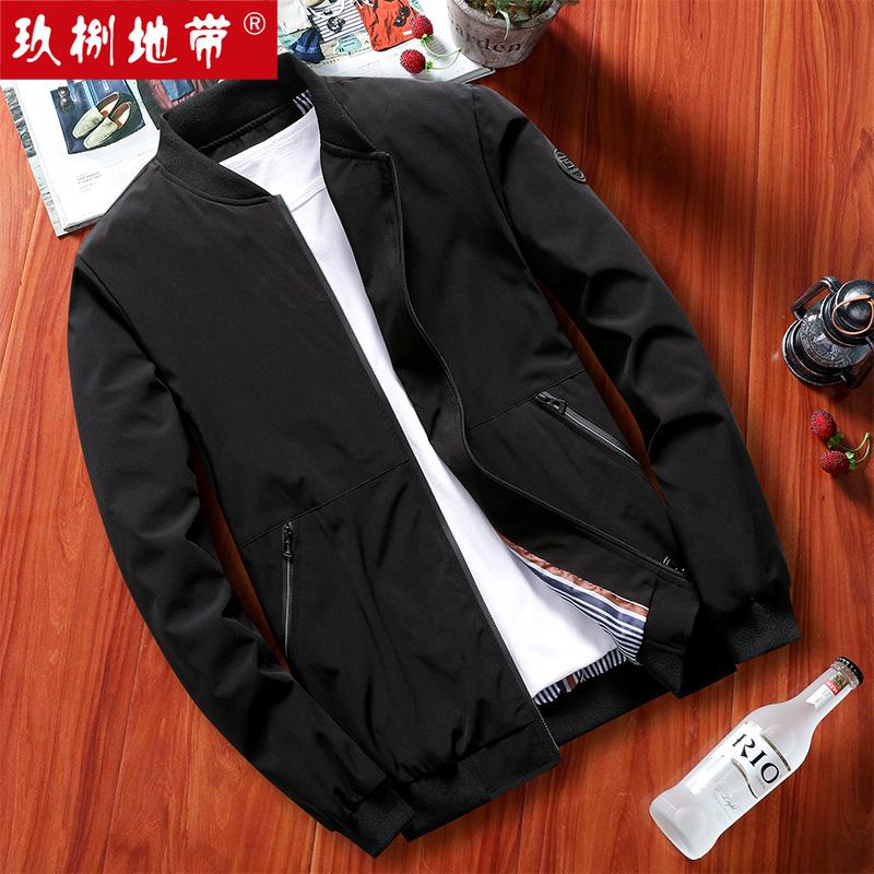 玖捌地带2020春装韩版男士休闲夹克外套青年百搭薄款棒球领外衣服