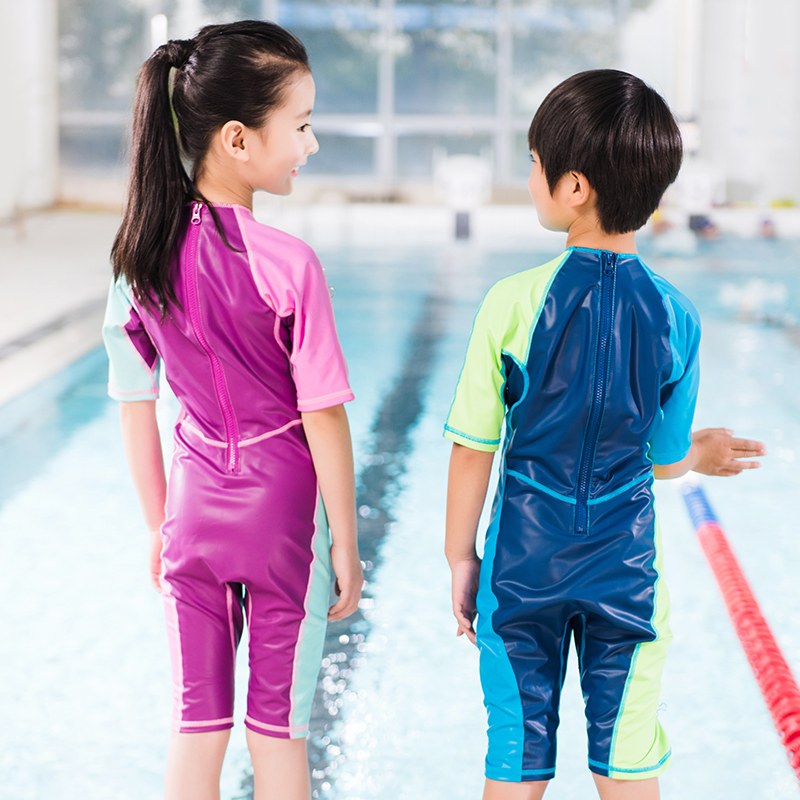5c143e3283 Decathlon Boys Girls Children Female Swimsuits Swimming Spa One-piece  Swimsuits Warm Sunshade NAB E