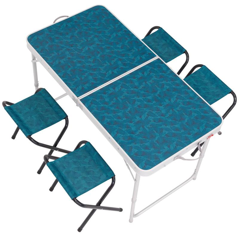 Decathlon folding table outdoor portable folding table and chairs camping simple dining table for Table quechua