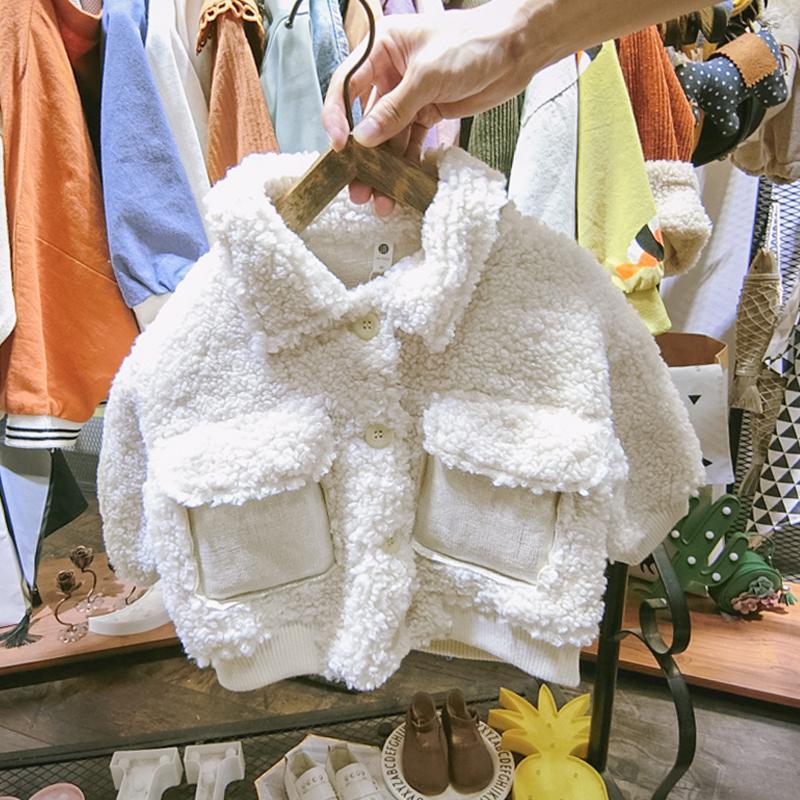 男童加厚羊羔毛外套2019秋冬装新款韩版男宝宝小外套小童加绒洋气