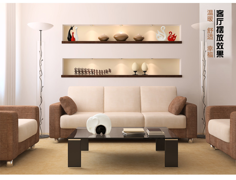 时尚家居装饰品陶瓷工艺品创意结婚礼物客厅卧室电视柜摆件母子象