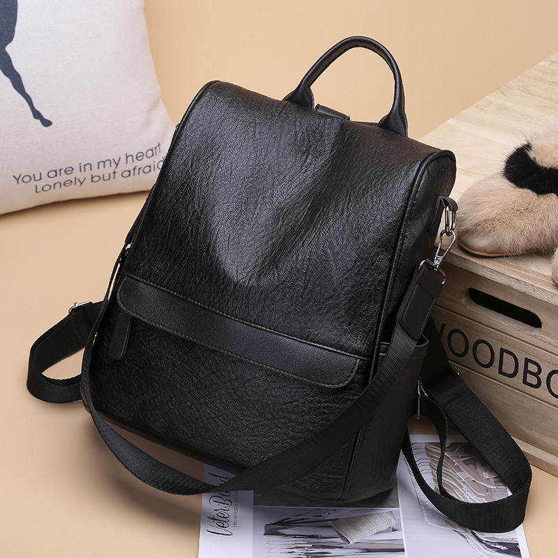Shoulder bag female 2018 new Korean soft leather college wind backpack large capacity wild dual-use pu leather female bag tide