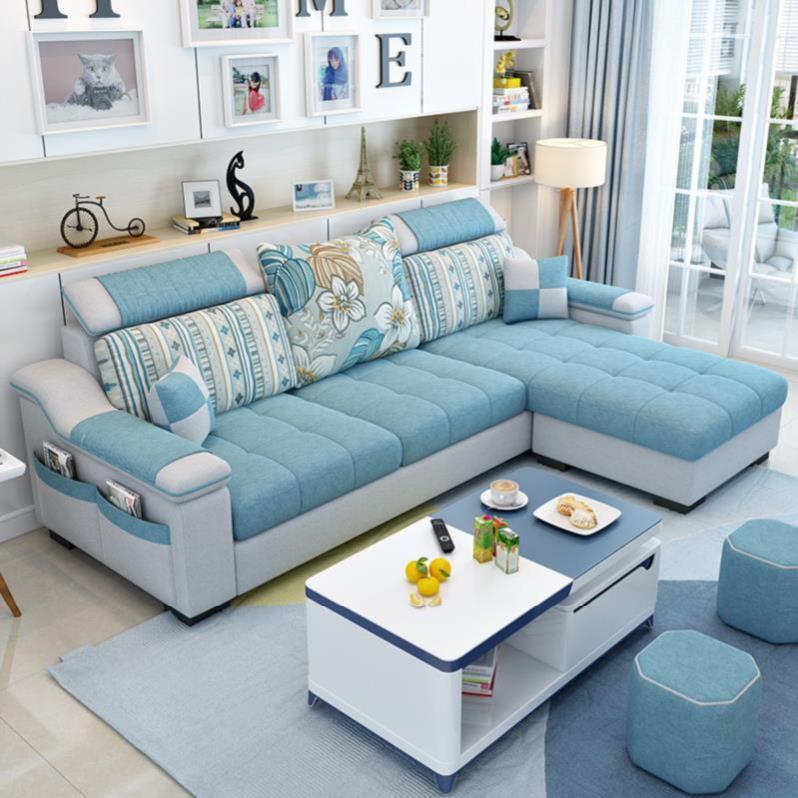 拐角个性布艺沙发北欧简约客厅椅贵妃软体四人座墙画可v拐角简美