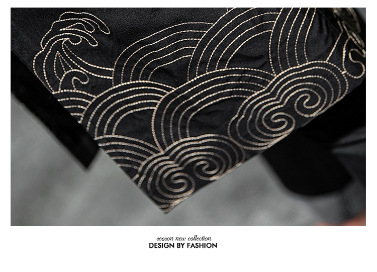 W基地 中国风秋装假两件风衣海浪仙鹤刺绣外套A032/1905/95控128