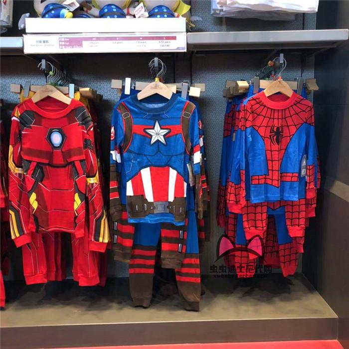 香港美国迪士尼上海卡通套装侠蜘蛛侠长袖长裤儿童队长睡衣钢铁
