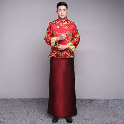 Chinese wedding dress bridegroom Chinese bridegroom toast Traditional Chinese Clothing