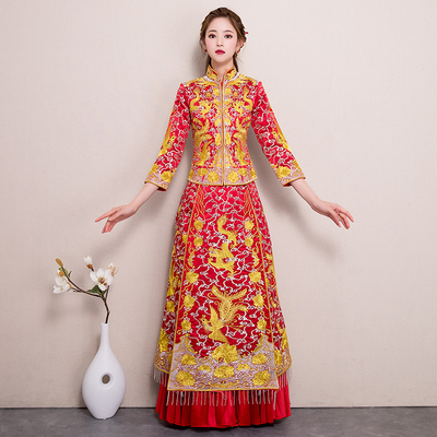 Mandarin Duck Fish Show Grass Clothes Bride's Chinese Wedding Dress in 2019