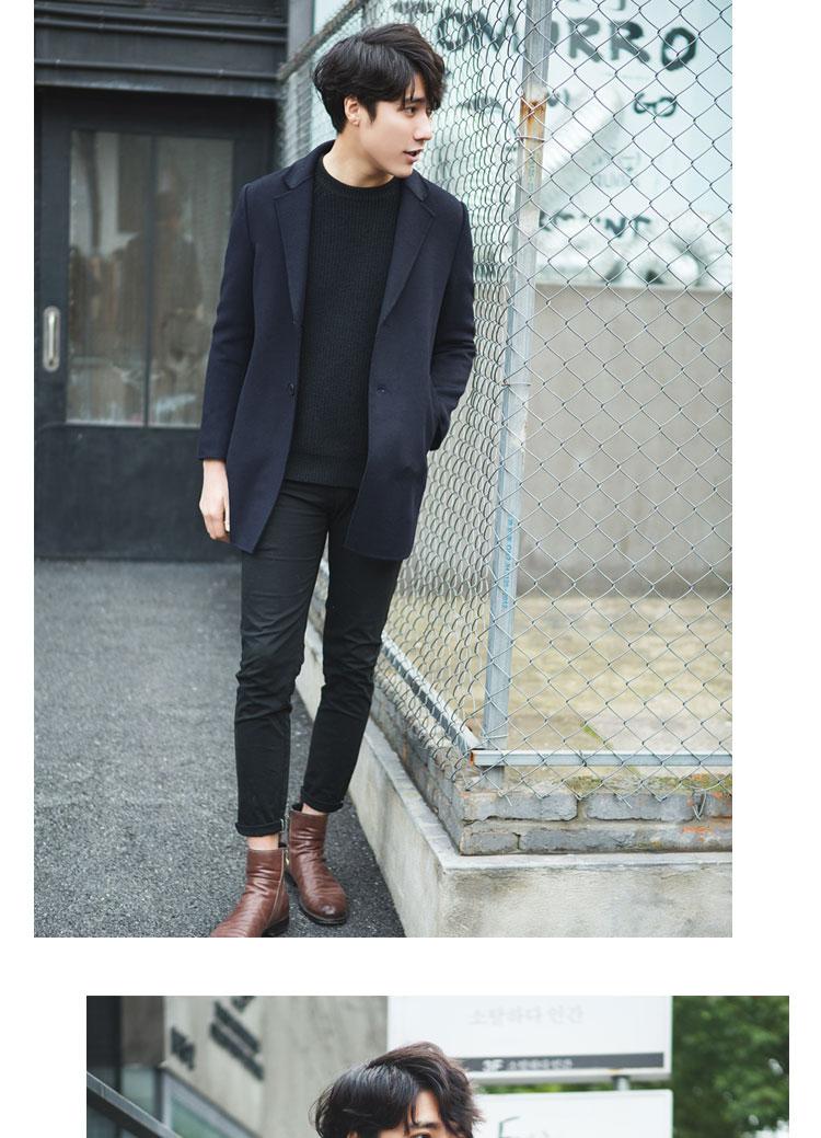 Đôi phải đối mặt với cashmere áo khoác nam thời trang Hàn Quốc kinh doanh len giản dị Nizi phù hợp với mùa thu và mùa đông áo khoác Nizi