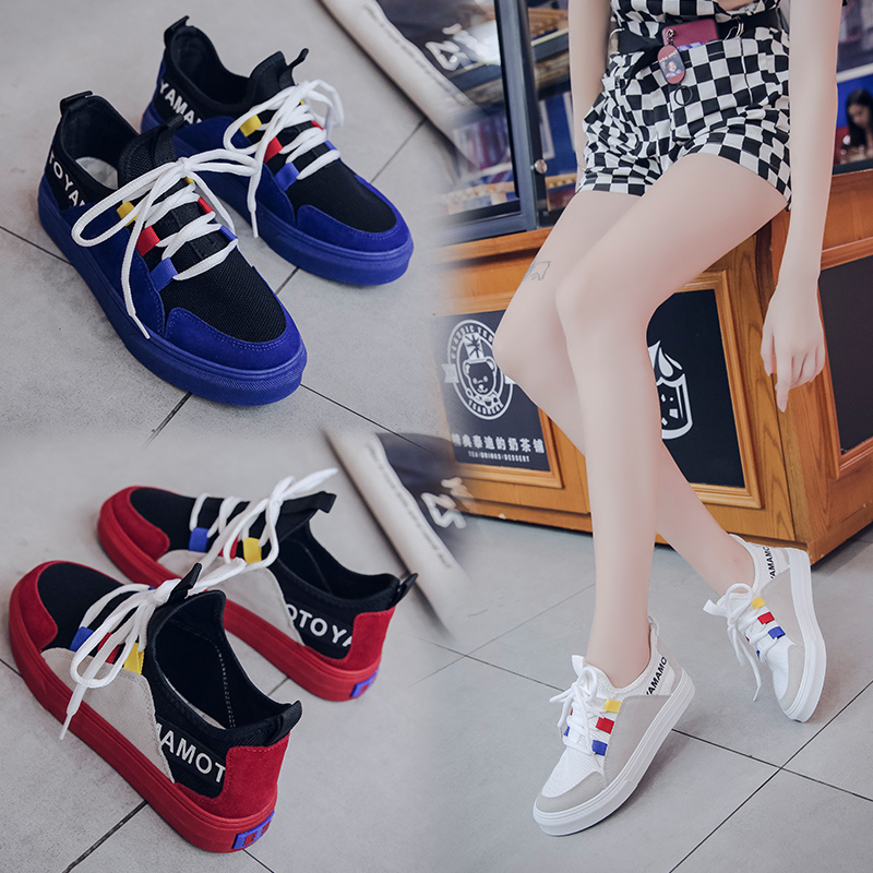Small white shoes female spring 2018 new wild Korean version of Hong Kong style Harajuku breathable canvas shoes student sports board shoes